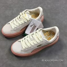 86102d6ee553 Puma Basket Platform 363906-12 Womens Originals Suede Causal Shoes Pink Cream  White Outlet