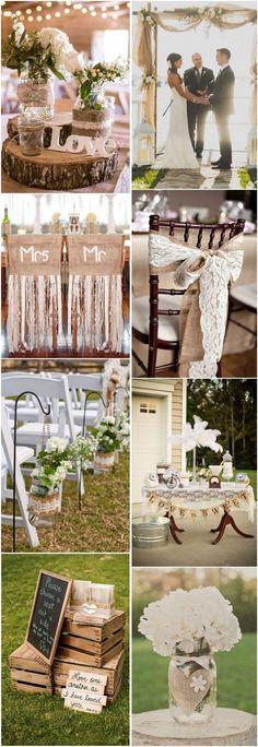country rustic wedding ideas- burlap & lace wedding theme ideas