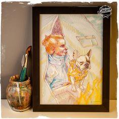 Ilustração Original - Série Inverno e Cães - Quadro 04 -  Formato A4