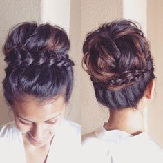 Sock Bun-Inspired Messy Braided Updo - 101 Braid Ideas That Will Save Your Bad Hair Day (Photos) Up Dos For Medium Hair, Medium Hair Styles, Long Hair Styles, Hair Medium, Medium Length Hair Braids, Up Hairstyles, Braided Hairstyles, Wedding Hairstyles, Braided Updo