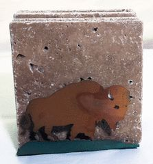 Buffalo Coaster Holder Coaster Set Brown