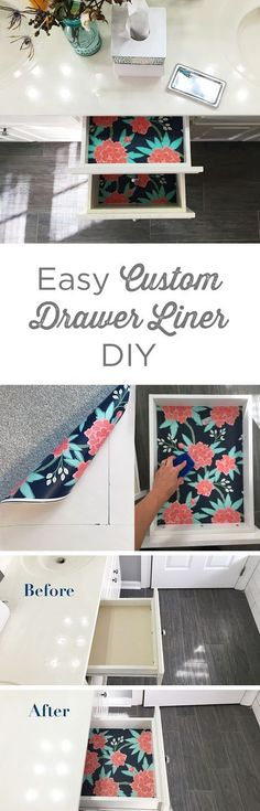 This easy DIY tutorial shows the quick steps from boring drawer to beautiful bold interior! These custom drawer liners can brighten up any space and add some color to a drab room. Click to see the easy DIY drawer liner tutorial.