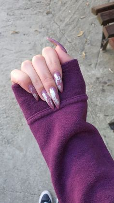 #purplenails #stilettonails #nails #longnails #transferfoil Transfer Foil, Purple Nails, Stiletto Nails, Long Nails, Engagement Rings, Beauty, Jewelry, Fashion, Purple Nail