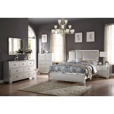 acme furniture voeville ii bedroom set matt gold pu and platinum