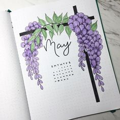 May cover page. Wisteria is so pretty.   #bulletjournal #maybulletjournal #wisteria May bullet journal cover page