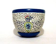 Huichol collection mosaic art blue pot Mosaico fusión