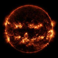 Halloween Is in the Air, Literally... NASA Shares Jack-o-Lantern Sun Photo