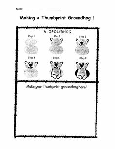 Thumbprint Groundhog for Groundhog Day