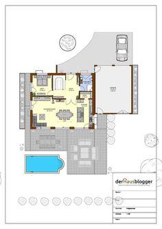 Stadtvilla 224m2 EG.vpl Planer, House Plans, Floor Plans, Flooring, How To Plan, City, House With Granny Flat, Civil Engineering, House Design Plans