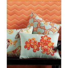 pale aqua & orange pillows