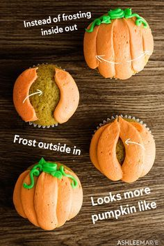 Soft and fluffy and delicious pumpkin cupcakes with a delicious cream cheese frosting. And Decorating these pumpkin cupcakes is super easy too! # cake decorating Pumpkin Cupcakes recipe and video Halloween Torte, Dessert Halloween, Halloween Snacks, Halloween Cupcakes Easy, Halloween Halloween, Halloween Deserts Recipes, Halloween Food Ideas For Kids, Haloween Cakes, Halloween Cupcakes Decoration