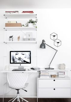 Home Office / Inspiration / Ideas / Design / Style / Interior / Decor / Minimalist / Boho / Fashion / Feminine / Modern / White Home Office Space, Home Office Design, Home Office Decor, Office Furniture, Office Decorations, Furniture Plans, Kids Furniture, Office Spaces, Woodworking Furniture