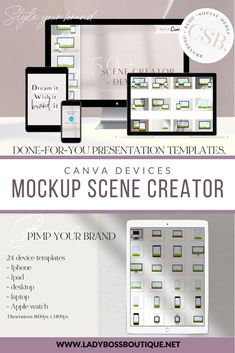 Create your own perfect scene with a few mouse clicks. Perfect for website design, application, showcase, portfolio, ads, banner, for your online store, social networks and so much more. You'll be on your way to attracting more eyes and clicks in no time. – Various template choices – Easy to modify Place your design and you are good to go! #CanvaTemplate #Canva #DeviceTemplate #DevicesMockup #WebDesignMockup #LadyBossBizBoutique