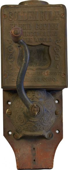 "Antique Wall Mount Hand-Crank ""Golden Rule"" Coffee Grinder"