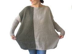 NEW  Beige  Army Green Sweater Plus Size Over Size by afra on Etsy