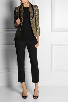 Diane von Furstenberg|Ofelia croc-embossed metallic blazer|NET-A-PORTER.COM