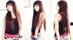 Long Brown Straight with Bangs