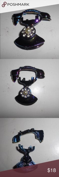 Vintage 2 Piece Iridescent Telephone Pin In good condition.  Separate phone and receiver. Vintage Jewelry Brooches