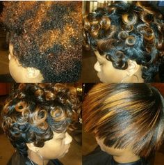 Blowout, silk press, trim, and pin curls. This is 3 months growth from my big chop in October. 01/29/15