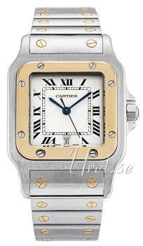 Cartier Santos de Cartier Large Hvit/Stål 29x29 mm Cartier, Watches, Silver, Accessories, Santos, Wrist Watches, Wristwatches, Tag Watches, Watch