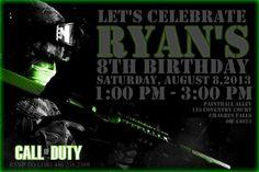 Call of duty invitation Paintball Birthday party Invitations boy invite paintball