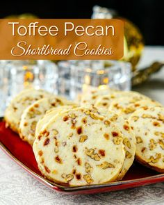 Toffee Pecan Shortbread Cookies - ultimately decadent shortbread! If these sound good to you, just bake them already! You won't be disappointed. RECIPE HERE: #cookies #christmas #christmascookies #chirstmasbaking #holidaybaking #holidayfood