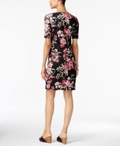 Karen Scott Petite Floral-Print T-Shirt Dress, Only at Macy's - Black P/XS