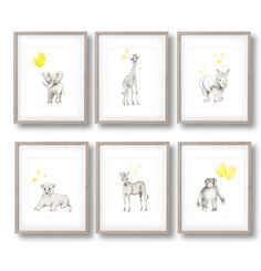 Safari Nursery Art Set of 6 Prints Elephant by studioQgallery
