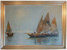 """""""Boats in Venice Lagoon"""" - x - Giuseppe """"Bepi"""" Marino - 1930 Italian Paintings, Venice, Boats, Artist, Ships, Venice Italy, Artists, Boat, Ship"""