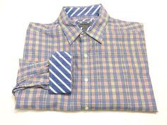 Johnston & Murphy Tailored Fit Contrasting Flip Cuffs XXL Multi-Color Check 2XL #JohnsonMurphy #ButtonFront