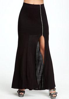 Zipper Slit Maxi Skirt #bebe.     Diy time