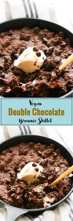 This vegan double chocolate brownie skillet is full of flavor, refined sugar free, and ready in under an hour!
