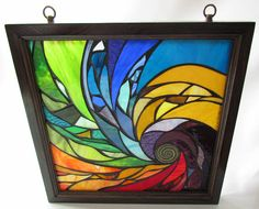Vitrail mosaïque oeuvre & Suncatcher - cadre bois Spiral II - 18 X 18 pouces - - de verre artiste Seba