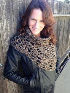 Not as bulky as some others I've perused...  Brown+Tan+Mix+Crochet+CowlCross+Body+by+STITCHandCABOODLE+on+Etsy,+$69.00