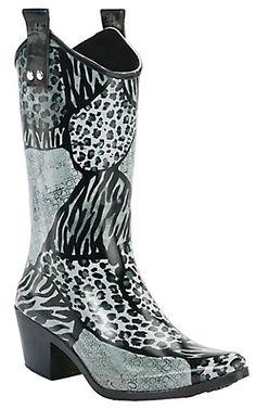 Beehive® Rain Bops™ Ladies Black Urban Safari Cowgirl Rain Boots | Cavender's Boot City