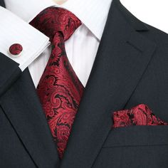 Black and Red Paisley Necktie Set JPM1867W - Toramon Necktie Company