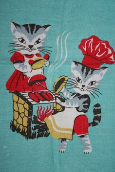 """RESERVED Vintage """"Here's Kitty"""" Bar-B-Que Cat KItten Aqua Red Kitchen Tea Towel"""