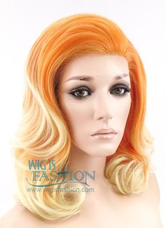 "16"" Medium Curly Orange Mixed Blonde Lace Front Synthetic Hair Wig LF208 - Wig Is Fashion"