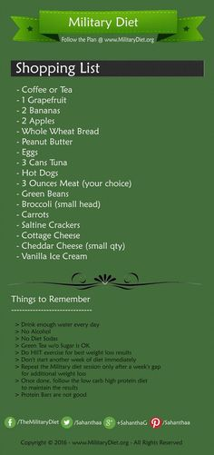 Here is the military diet shopping list. #militarydiet #weightloss #bellyfat  #lose10pounds #losearmfat #loseweightfast #loseweightforwomen #fatburn #WeightLossDietPlan #dietplan #diettips #diet