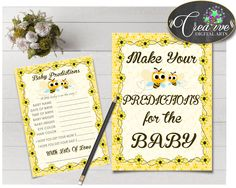 Baby PREDICTIONS sign and cards activity printable for baby shower with yellow bee theme, instant download - bee01 #babyshowergames #babyshower