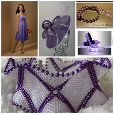 lavander purple fashion trend dress hat seed bead embroidery woven necklace bracelet shoes