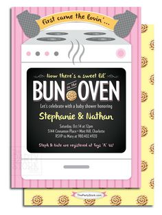 Bun in the Oven Baby Shower Unique Invitation by thepartystork, $15.00