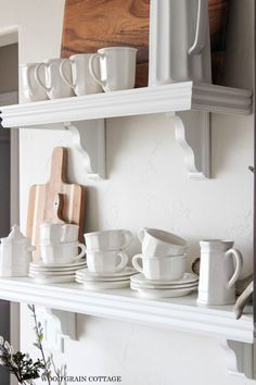 White Kitchen Shelves by The Wood Grian Cottage