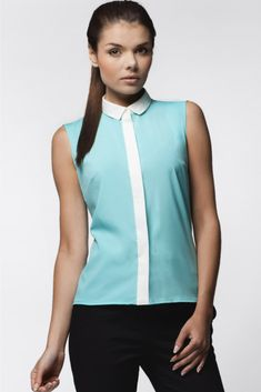 Define an ensemble with this stretch-blend top. Size note: This item runs small and is from a European brand. Please refer to the size chart to ensure best fit. Mint Blouse, Get Back To Work, Office Outfits, Size Chart, Athletic Tank Tops, T Shirt, Etsy, Couture, Casual