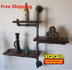 Home Improvement Loft American Country Style Wrought Iron Wall Shelf Shelves Retro Industrial Pipes Simple Fashion Display-z30 Easy To Use Bathroom Shelves