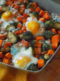 An Avocado A Day: Baked Eggs with Sweet Potatoes, Brussels and Roquefort