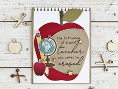 papertrey ink march release - stitching garden + words to live by: learn + glorious globes: march + shape shifters: oval 1 Good Teacher Card by Heather Nichols for Papertrey Ink (March Handmade Teachers Day Cards, Greeting Cards For Teachers, Teacher Thank You Cards, Kids Cards, Greeting Cards Handmade, Teacher Gifts, Teachers Day Poster, Grandparents Day Crafts, Teacher Appreciation Cards