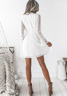 1ded30e5988f White Lace Cut Out Pleated Bell Sleeve Homecoming Party Beach Boho Sweet  Cute Mini Dress -
