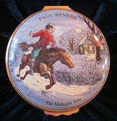 Halcyon Days Enamel Box ~ PAUL REVERE Midnight Ride ~ 1976 Limited Edition Award