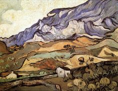 There is much more to Van Gogh than chairs, stars & portraits missing ears. The Alpilles by Vincent Van Gogh. Artist Van Gogh, Van Gogh Art, Art Van, Vincent Van Gogh, Van Gogh Landscapes, Landscape Paintings, Van Gogh Pinturas, Van Gogh Paintings, Van Gogh Museum